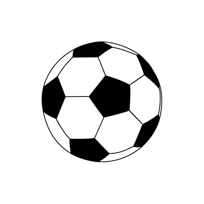 Sticker ballon foot noir et blanc pour d co sport enfants - Dessin ballon foot ...