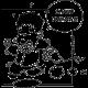 Sticker personnage rigolo WC