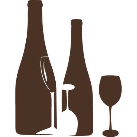 Stickers bouteilles et verre sticker vitres de cuisine meuble et mur - Decoupe bouteille verre ...