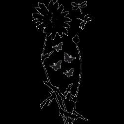 Stickers fleur - Papillon et Libellule