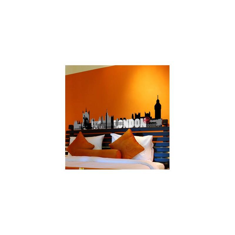 stickers muraux t te de lit london avec textes et images. Black Bedroom Furniture Sets. Home Design Ideas