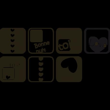 Stickers Chambre - Tete de lit Cubes
