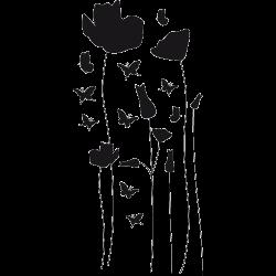 Sticker porte papillons coquelicots