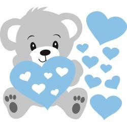 Sticker bébé nounours bleu