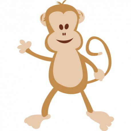 stickers enfant jungle : Tim le singe debout