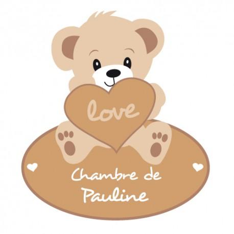 Sticker ourson personnalisé prénom
