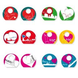 Stickers pour cl's rondes - Kit pour 6 cl's - Les Villes