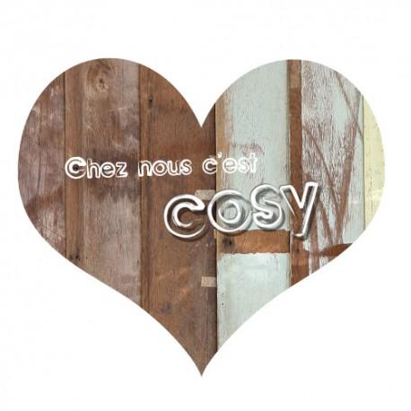 sticker d coratif effet bois coeur avec texte cosy. Black Bedroom Furniture Sets. Home Design Ideas