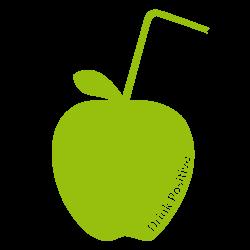 Sticker pomme avec paille