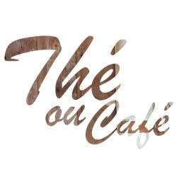 Sticker thé café texte bois