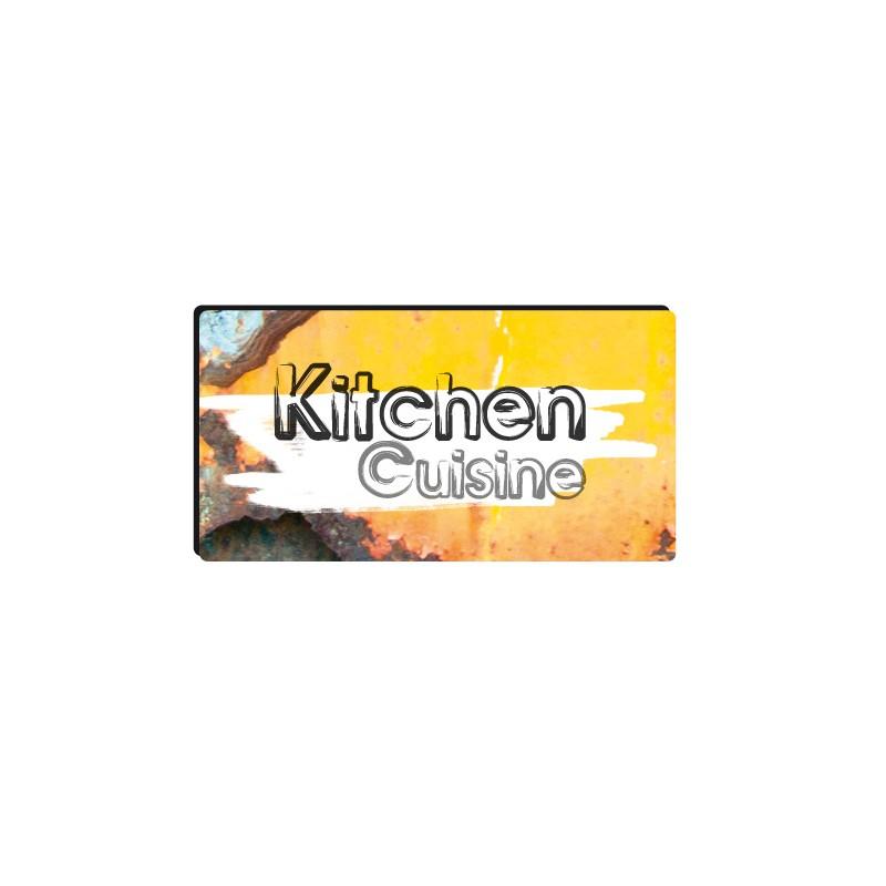 Sticker autocollant style industriel plaque de cuisine for Plaque deco cuisine retro