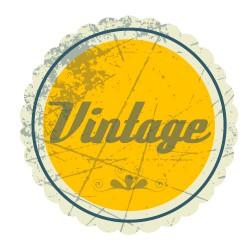 Sticker vintage avec texte en jaune