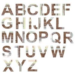 Stickers lettres effet bois