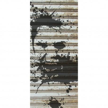 sticker d coration de porte rideau de fer et tag. Black Bedroom Furniture Sets. Home Design Ideas