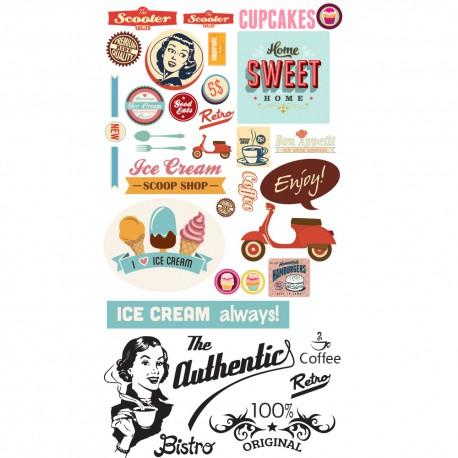Stickers géants cuisine rétro