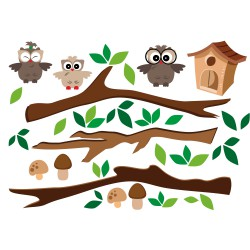 Kits stickers Hiboux sur branche