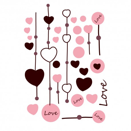 Stickers Love Et Coeurs Pour Déco Murale Chambre Fille