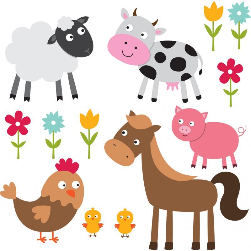 stickers adh sifs animaux de la ferme color e pour enfants d cor c bo. Black Bedroom Furniture Sets. Home Design Ideas