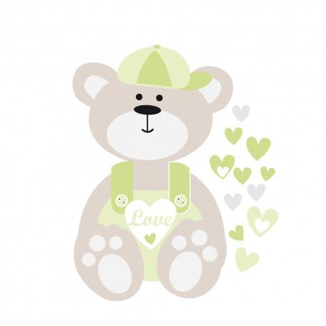 Sticker nounours et coeurs verts