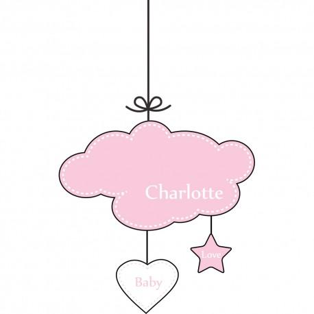 Sticker nuages rose prénom