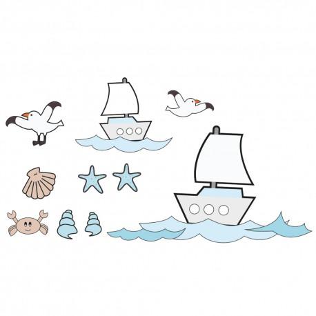Sticker Voiliers Pour Chambre Enfants Et Bébés Ton Bleus, Blancs