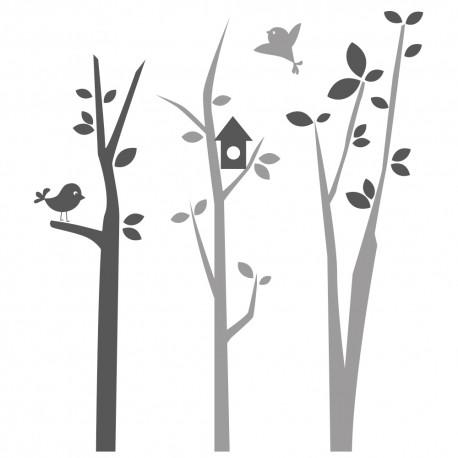 stickers arbre chambre b b avec oiseaux autocollants pour enfants. Black Bedroom Furniture Sets. Home Design Ideas