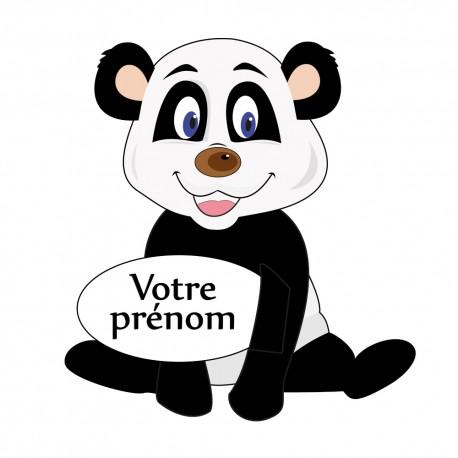 Stickers nounours chambre b b panda personnalis avec pr nom for Stickers panda chambre bebe