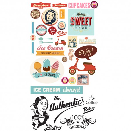 Kit GEANT de stickers rétro