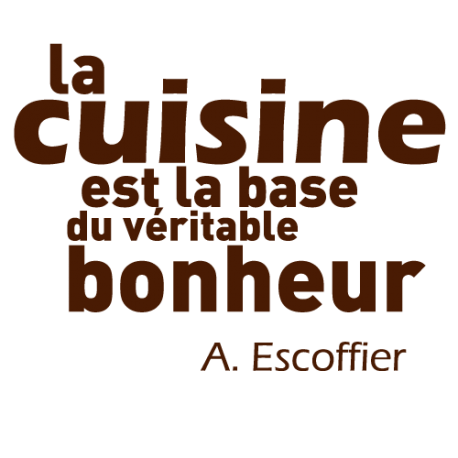 sticker mural de cuisine d coration avec citation de escoffier par decorecebo. Black Bedroom Furniture Sets. Home Design Ideas