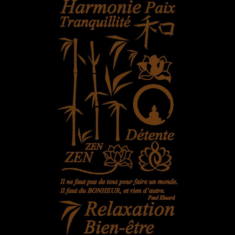 Stickers zen avec bambous, bouddha, fleurs de lotus pour