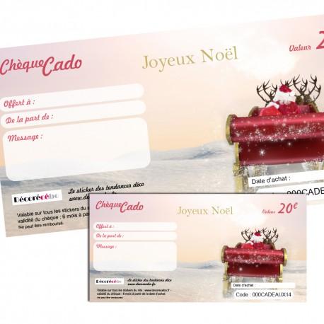 Chèque cado Père Noel : de 20 à 200 €