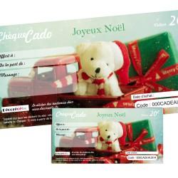Chèque cado Noel ourson : de 20 à 200 €
