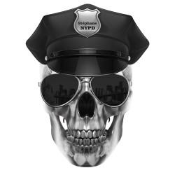 Sticker de voiture : Skull NYPD personnalis'