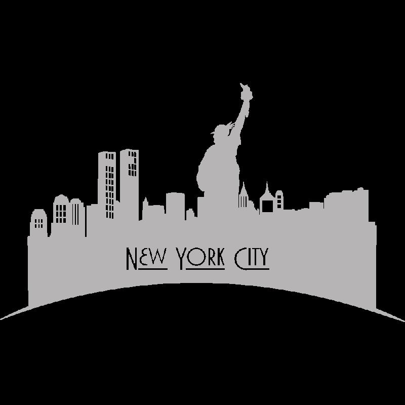 Sticker ville de manhattan adh sifs muraux d co new york for Decoration murale vue sur new york