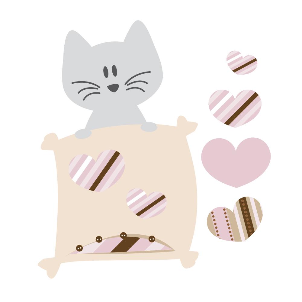 Stickers bébé fille petit chat coloris rose parme brun et gris ...