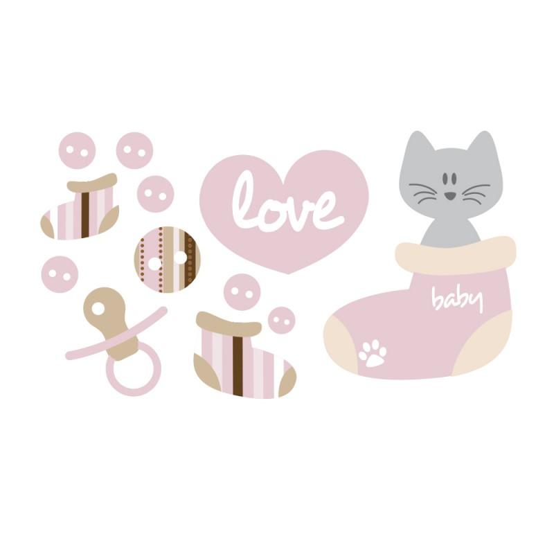 stickers b b fille roses et beiges pour la chambre murs et meubles. Black Bedroom Furniture Sets. Home Design Ideas