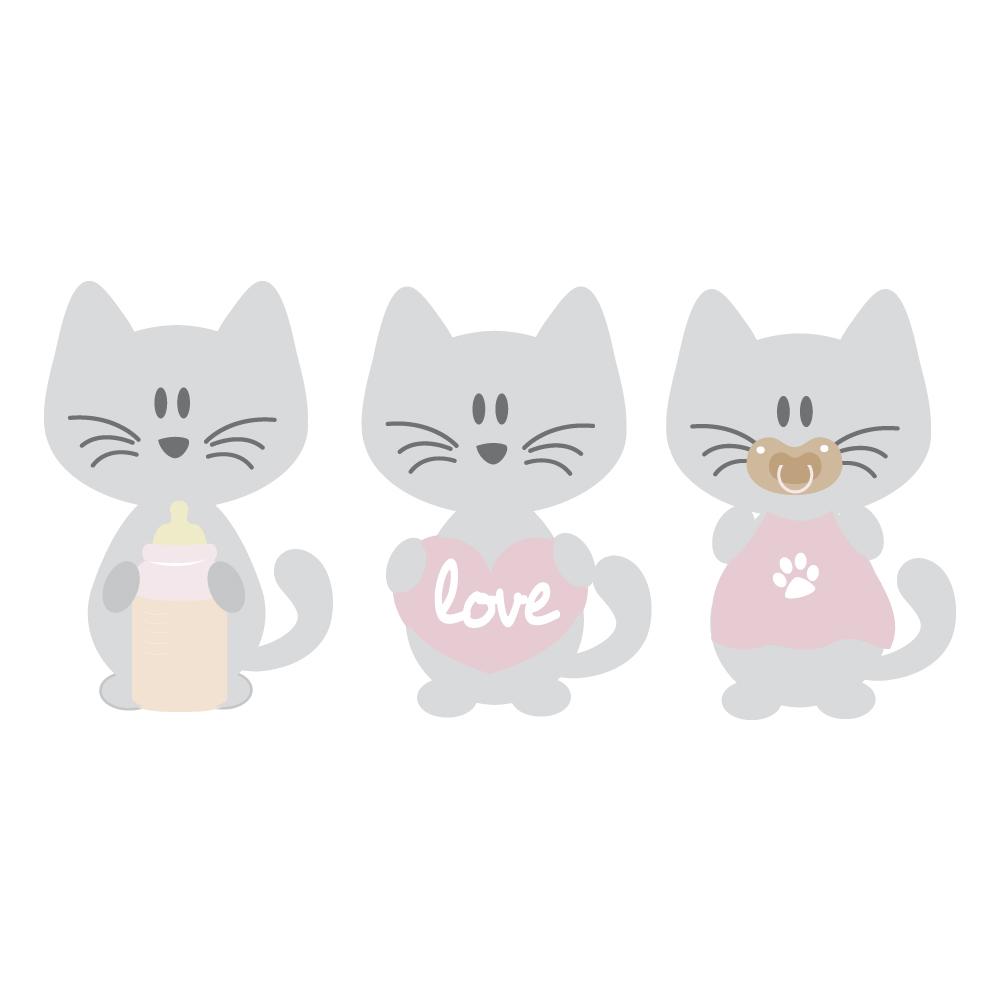Stickers nounours coeurs rose et coeurs bébé filles par decorecebo.fr