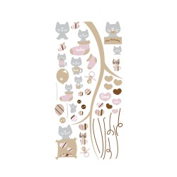 Stickers chats rose et gris