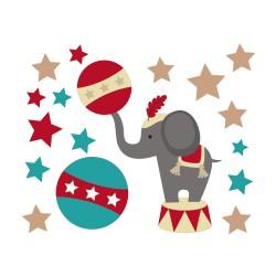 Stickers éléphant de cirque