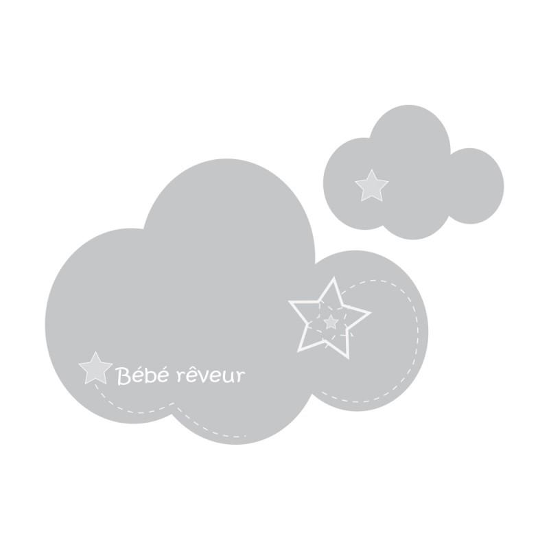 Stickers de 2 nuages avec toiles pour b b naissance d cor c bo - Stickers chambre bebe nuage ...