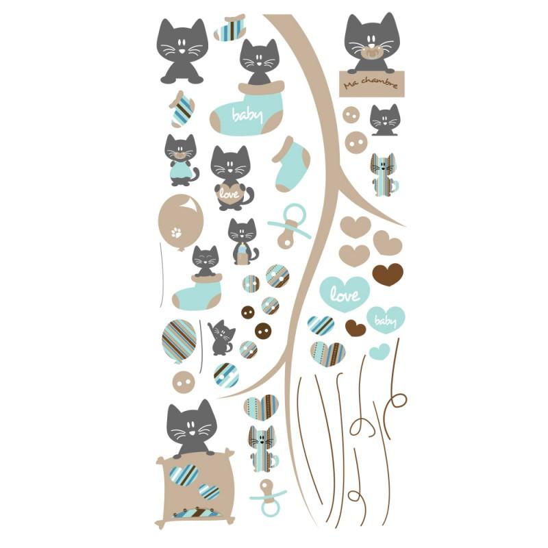 Stickers petits chats bleu et gris pour chambre b b for Stickers pour chambre bebe garcon