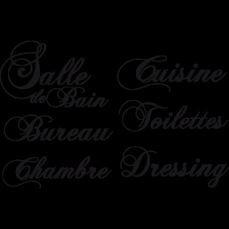 Stickers noms pièces pour portes maison : salle de bain, cuisine