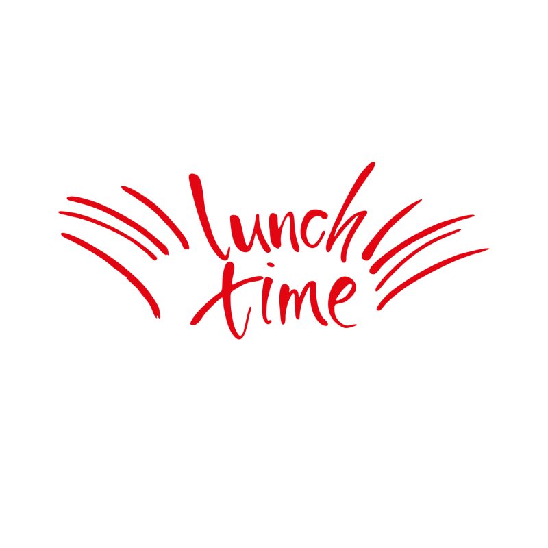 sticker de cuisine texte rouge lunch time originaux de d co murale. Black Bedroom Furniture Sets. Home Design Ideas