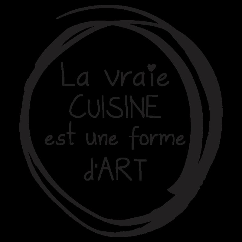 Stickers deco cuisine phrase sur art de cuisiner par for Stickers phrase cuisine