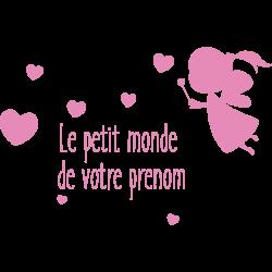 Sticker prénom personnalisé fée avec coeur