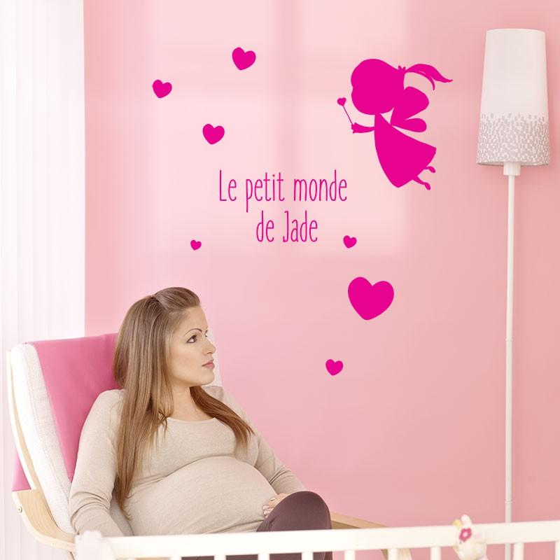Stickers bébé fille personnalisés coeurs et fée de chambre