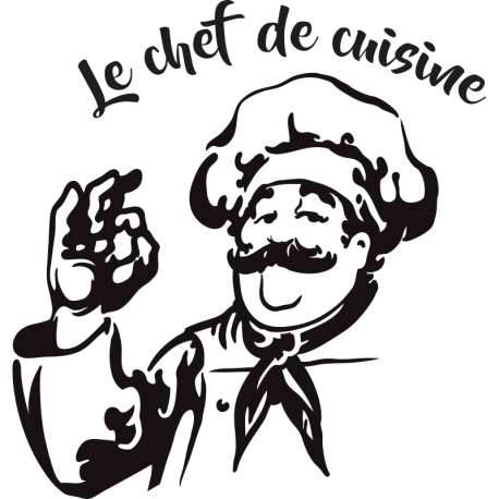 Sticker chef de cuisine avec un personnage et son plateau d cor c bo - What does a chef de cuisine do ...