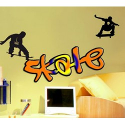 Sticker texte skate orange