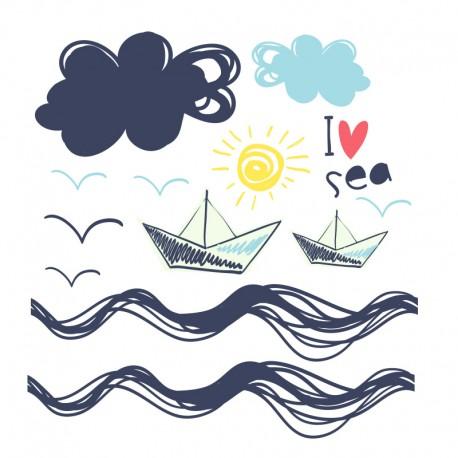 Stickers nuages bateaux oiseaux