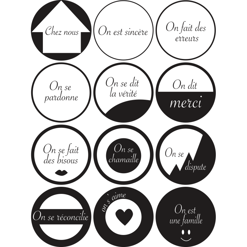 Sticker design r gles de la maison avec cercles pour d co for Regle de maison